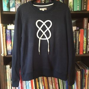 Downeast Shoelace Heart Blue Sweater M